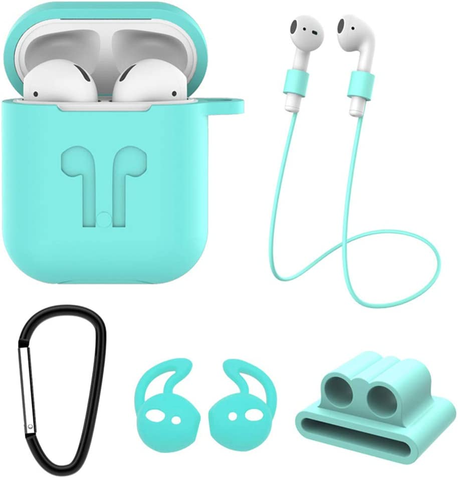 Kukakoo Earbuds/Earphones/Headphones, Noise Isolating Sport Earphones丨5Pcs/Set Silicone Anti-Loss Cable Earbuds Cover Case Protector for AirPods 1/2 for iPhone iPod iPad Android/MP3 MP4 Mint Green