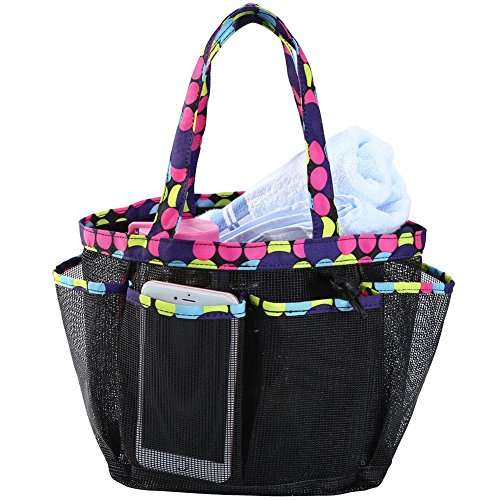 Portable Mesh Shower Caddy Tote, Large College Dorm Shower Organizer with Key Hook and 8-Pocket, Quick Dry Hanging Toiletry and Bath Organizer Bag, Black