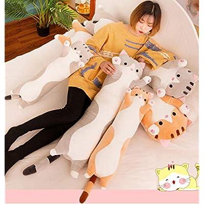 123Arts Cartoon Cat Soft Plush Long Throw Pillow Lifelike Animal Neck Pillow Plush Toy: Toys & Games