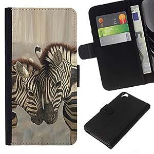 All Phone Most Case / Oferta Especial Cáscara Funda de cuero Monedero Cubierta de proteccion Caso / Wallet Case for HTC Desire 820 // Zebra Brothers Love