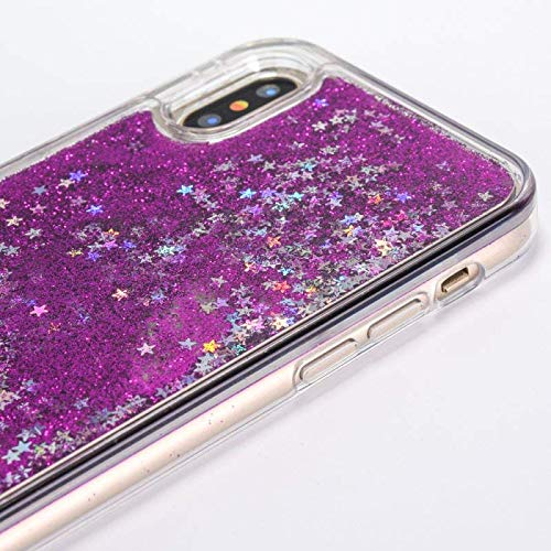 Tech Express Waterfall Quicksand Case for Apple iPhone X or Xs Glitter Cascade Star Naked Tough 3D Bling Movable Clear Tank Dynamic Snow Globe Water Liquid X (Purple)
