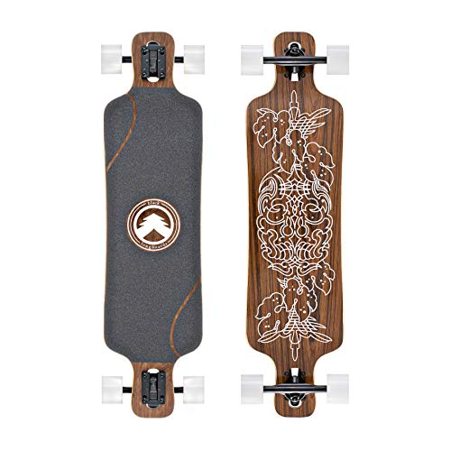 Black Longboards Collection | Longboard Skateboard Complete | Exotic Wood with Canadian Maple Core | Cruising