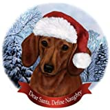 Dog in Santa Hat Porcelain Hanging Howliday Ornament (Dachshund (Red))