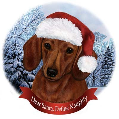- Dog in Santa Hat Porcelain Hanging Howliday Ornament (Dachshund (Red))