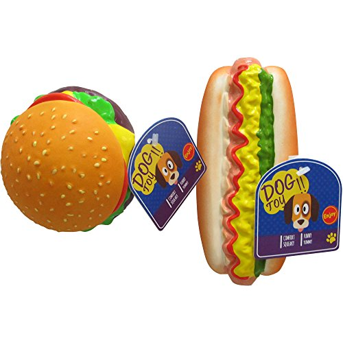 Squeaking Dog Toy, Hamburger or Hot Dog ()
