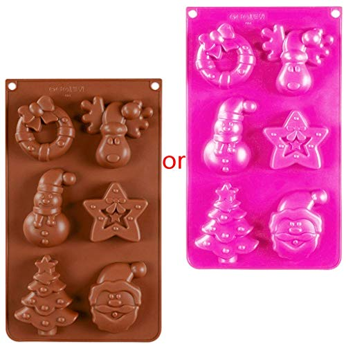 (Kofun Chocolate Mold, 6-Cavity 3D Christmas Themed Shapes Silicone Cake Soap Mold DIY Handmade Chocolate Biscuit Fondant Mould Ice Cube Tray Decorating Baking Tool)