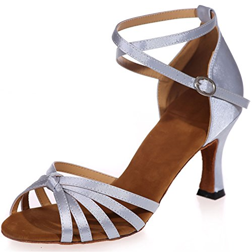 Clearbridal Women's Satin Latin Dance Shoes Buckle Ankle Strap Salsa Ballroom Sandals High Heel ZXF8349-08A Sliver K736dwOJ
