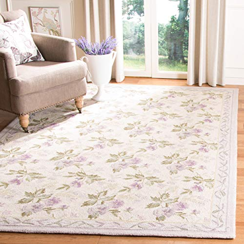 Safavieh Chelsea Collection HK54A Hand-Hooked Ivory Premium Wool Area Rug 6 x 9