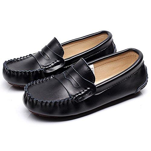 Shenn Hombre Conducción Coche Ponerse Comodidad Cuero Mocasines Zapatos Negro