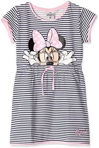 Disney Minnie Mouse Sommerkleid für Mädchen, kurze Ärmel, 100 % Baumwolle Streifenmuster 2-8 Jahre
