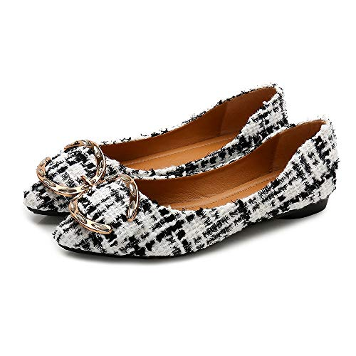 04 Classic Ballet Shoes Meeshine Womens Dress On Pointy Toe Flat Plaid Slip White Flats Aqqgw5xO