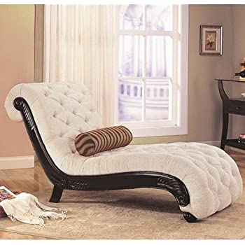 Coaster Chaise Lounge with Tufted Beige Fabric Black Wood Base : beige chaise lounge - Sectionals, Sofas & Couches