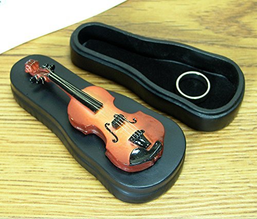 Ring Holder - Violin Style Box With Velvet Trimmed Inside - Music Gifts - Violin Player ()