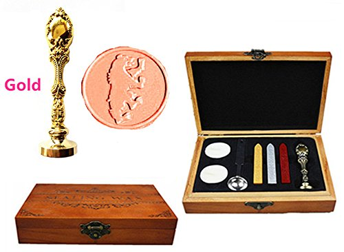 MNYR Fancy Bear Jump Luxury Wood Box Gold Metal Peacock Wedding Invitations Gift Cards Paper Stationary Envelope Seals Custom Logo Wax Seal Sealing Stamp Wax Sticks Melting Spoon Wood Gift Box Kit