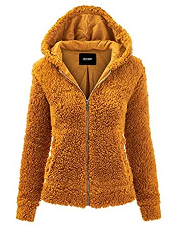 FASHION BOOMY Women's Oversized Shearling Teddy Bear Jacket - Faux Fur Hoodie Zip Up - Regular and Plus Sizes Small Mustard