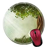 wi fae - Liili Round Mouse Pad Natural Rubber Mousepad IMAGE ID: 21533879 Fantasy landscape with tree and rabbit