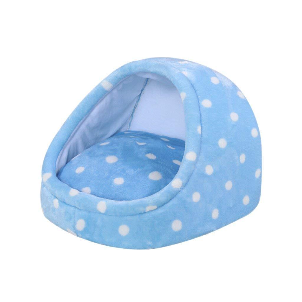 bluee 464635CM bluee 464635CM Gorkuor Pet Kennel Cat Bed Bog Nest Creative Yurt Detachable Cleaning Four Season Pet Supplies for Small Pets (color   bluee, Size   46  46  35CM)