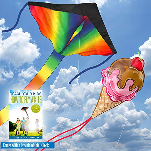aGreatLife Large Rainbow Kites Bundle - Beautiful Rainbow and Ice Cream  Includes Ebooks for How to Assemble and Fly a Kite, Spool and Strings -  Double