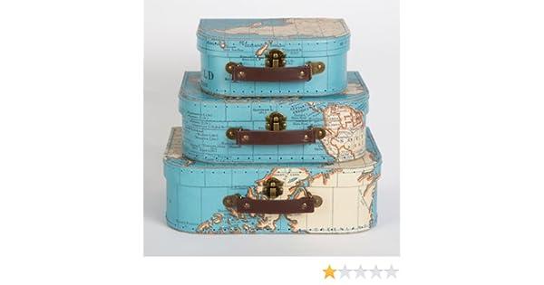Conjunto de tres estilo Vintage mapa del mundo decorativa Mini maleta caja de recuerdos de almacenamiento para Stationery, fotos, cds, la habitación de los ...