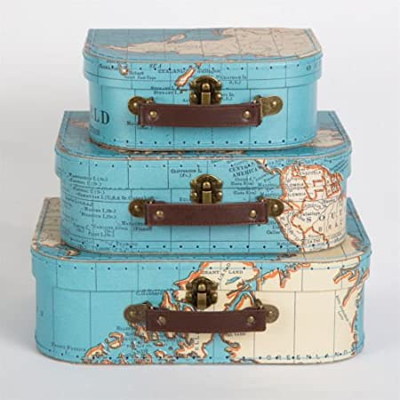 Set of three vintage style world map decorative mini suitcase set of three vintage style world map decorative mini suitcase storage keepsake box for stationery gumiabroncs Image collections