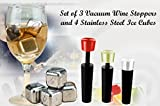 Wine Lovers Gift Set Includes 3 Premium Vacuum Wine Preserver / Stopper Cork Replacements & 4 Stainless Steel Reusable Ice Cubes w. Storage Tray Perfect Hostess Holiday Housewarming or Thank You Gift