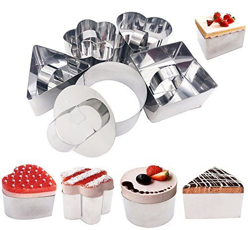 Set of 5 Cake Rings, Stainless Steel Food Tower Presentation Cooking Rings with Food Press- Forms 5 Different Mold Round Square Flower Triangle Heart