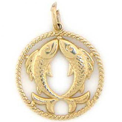 14k Solid Yellow Gold Pisces Zodiac Charm Pendant