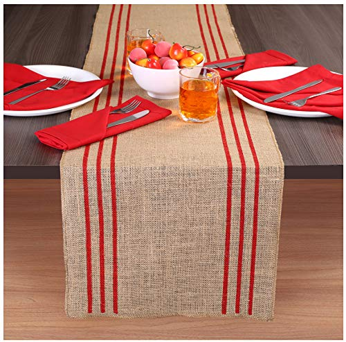 Ramanta Home 2-Pack Rustic Farmhouse Stripe Burlap Jute Table Runners 14x72 Natural with Red -