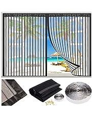 Magnetische Vliegengordijn, klamboe Hordeur, 90x115cm Garagedeur Ingang venster Ponsvrij klittenband Magneten van Boven-Tot-Onderafdichting - Sluit Automatisch