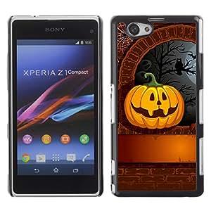 Xperia Z1 Compact D5503 - Metal de aluminio y de plástico duro Caja del teléfono - Negro - Halloween Pumpkin Carvign & Owl