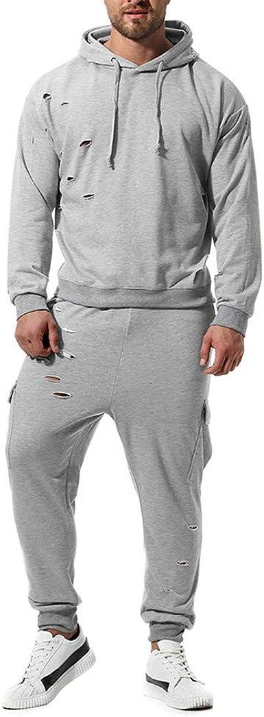 Herren Trainingsanzug Zweiteiler Jogginganzug Sportanzug Sporthose+Hoodie Lässig