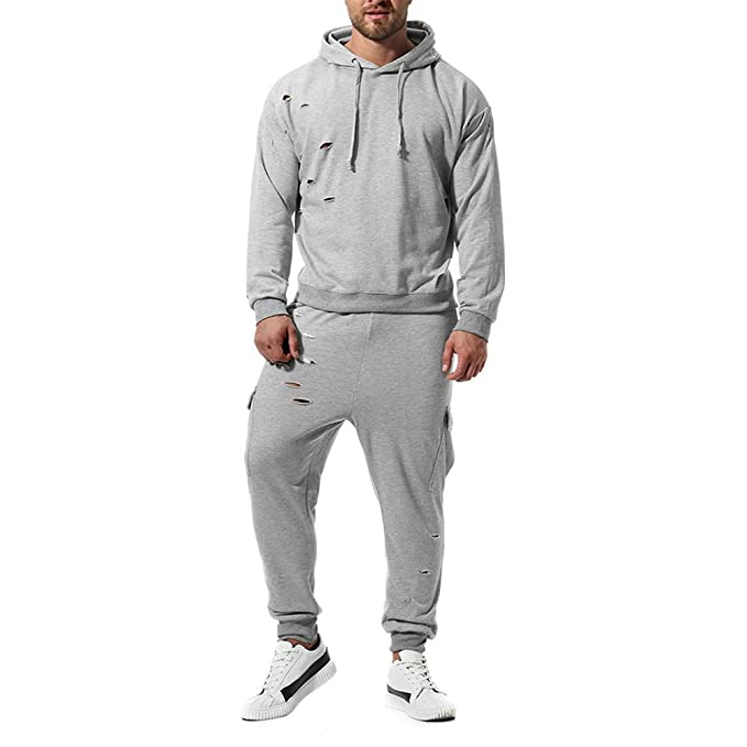 210f3cc96803 MOIKA Abbigliamento Uomo Uomini Autunno Inverno Tempo Libero Vestito Colore  Puro Felpa Top Pantaloni Set Tuta
