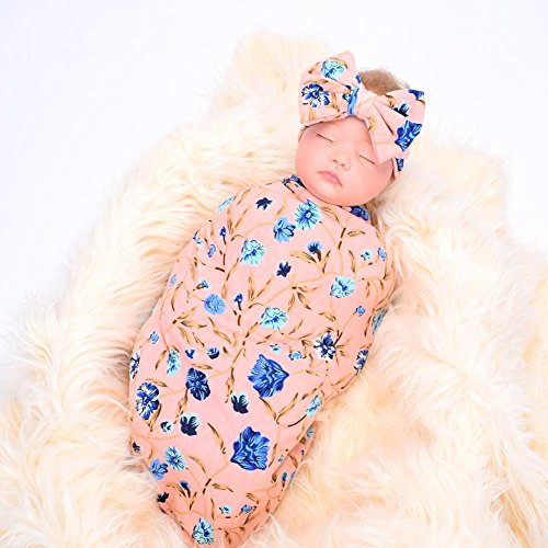 Galabloomer Newborn Receiving Blanket Headband Set Flower Print Baby  Swaddle Receiving Blankets Pink f5dbaa78e