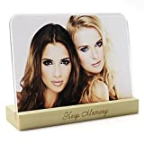nice rack sign - 8x10 Acrylic Picture Frame(Round Corner)and Wood Holder Stand on Desktop - Clear Acrylic Glass Picture Frame Stand With Wood Holder - Desk Calendar Holder/Stand Gift Box Package - SupperAcrylic