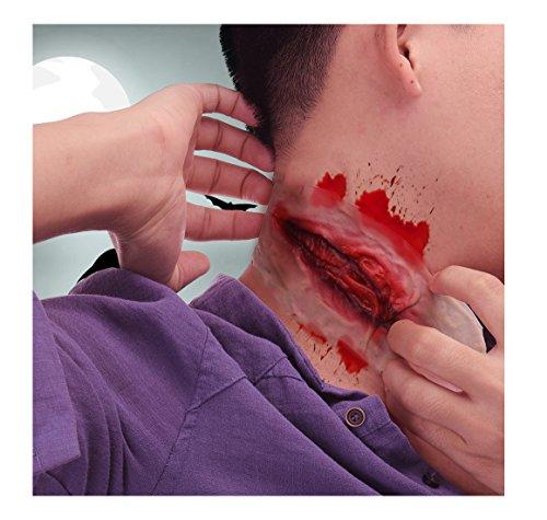 ZHANGJZJ halloween 1PC Halloween Zombie Neck Scar Bloody Costume Horror Wound Blood Injury Sticker onesize
