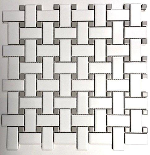 Tile Basketweave Pattern (1x2 Matte Finish White and Gray Basketweave Porcelain Mosaic Walls and Floors)