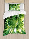Ambesonne Bamboo Duvet Cover Set Twin Size, Low Angle View of Bamboo Tree Tops Asian Zen Tranquil Lands Jungle Meditation Spa Theme, Decorative 2 Piece Bedding Set with 1 Pillow Sham, Green