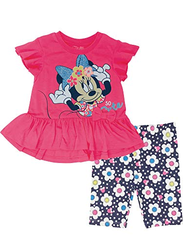 Disney Minnie Mouse Toddler Girls High-Low Ruffle Tunic & Bike Shorts Outfit Set (Pink, -