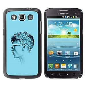 Shell-Star Arte & diseño plástico duro Fundas Cover Cubre Hard Case Cover para Samsung Galaxy Win / I8550 / I8552 / Grand Quattro ( Profile Portrait Man Blue Short Hair Art )