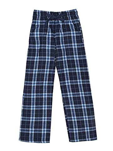 Ultra Soft Unisex Youth 100% Cotton Flannel Pants – Navy/Columbia, Medium - Flannel Pajama Pants Sleepwear