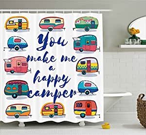 Camper Shower Curtain By Ambesonne You Make Me Happy Motivational Quote With Caravans Retro