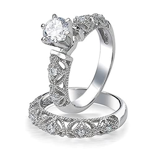 JewelStory Vintage Romantic AAA CZ Diamond Wedding Ring Set for Women Size 5 (Promise Ring Size 5 White Gold)