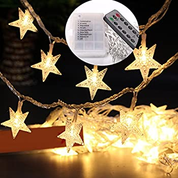 Yotako 5M 40 LED Star String Lights Battery Operated String Lights With  Remote Decorative Fairy Lights Indoor Outdoor Wall String Lights For  Bedroom Camping ...