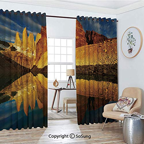 Thermal Insulated Blackout Patio Door Drapery,Exquisite Cliffs by Lake Torres Del Paine National Park Patagonia Decorative Room Divider Curtains,2 Panel Set,100