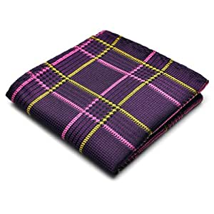 PenSee 100% Silk Woven Purple & Pink & Black & Gold Plaids Pocket Square