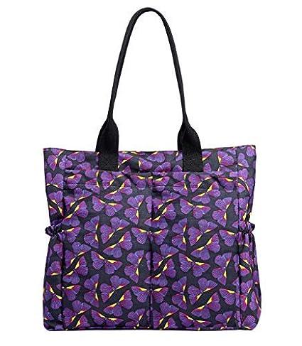 4d8a8bdaf9f7 Nylon Water Resistant Multi Pockets Large Lightweight Tote Bag Shoulder Bag  Waterproof Handbags (Purplebutterfly HB