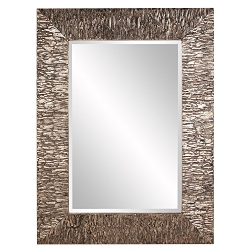 Howard Elliott 37150 Linden Mirror, Metallic Champagne Silver, Rectangle