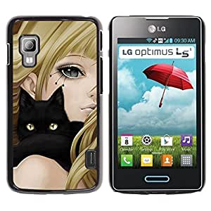 LECELL -- Funda protectora / Cubierta / Piel For LG Optimus L5 II Dual E455 E460 -- Black Cat & Anime Girl --