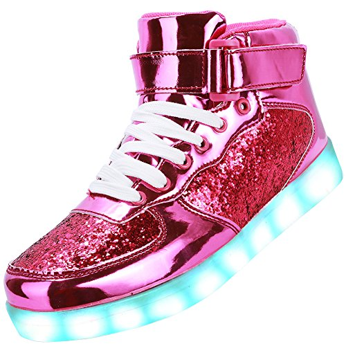 Women Up Shoes 13 Odema Men Light Top Girls Breathable Sneakers Brightrose For Shoes 4 LED High Size Boys Unisex 5 xw8FqP
