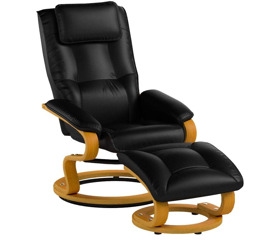 Flash Furniture Contemporary Multi-Position Recliner and Ottoman with Swivel Maple Wood Base in Black Leather by Flash Furniture